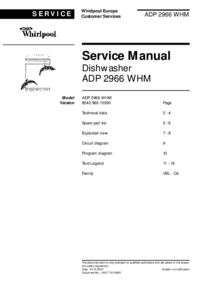 Instrukcja serwisowa Whirlpool ADP 2966 WHM