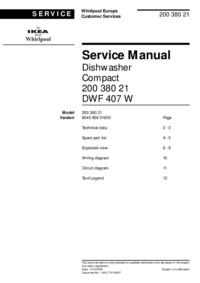 Service Manual Whirlpool DWF 407 W