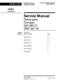 Instrukcja serwisowa Whirlpool DWF 407 W