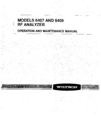 Обслуживание и Руководство пользователя Wiltron 6407