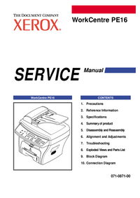 Manual de servicio Xerox WorkCentre PE16