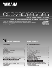 User Manual Yamaha CDC-765