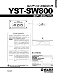 Руководство по техническому обслуживанию Yamaha YST-SW800