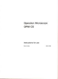 User Manual Zeiss OPMI CS