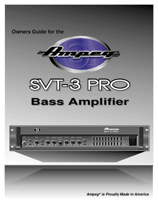 Service and User Manual - Ampeg SVT-3 PRO - Amplifier