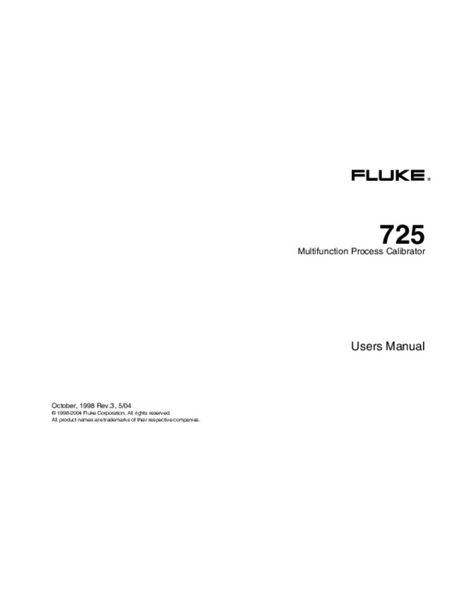 User Manual - Fluke 725 - Calibrator