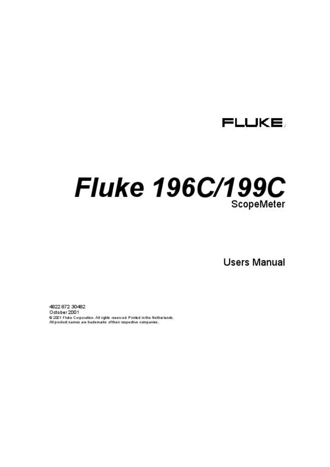 Service and User Manual - Fluke 199C - ScopeMeter