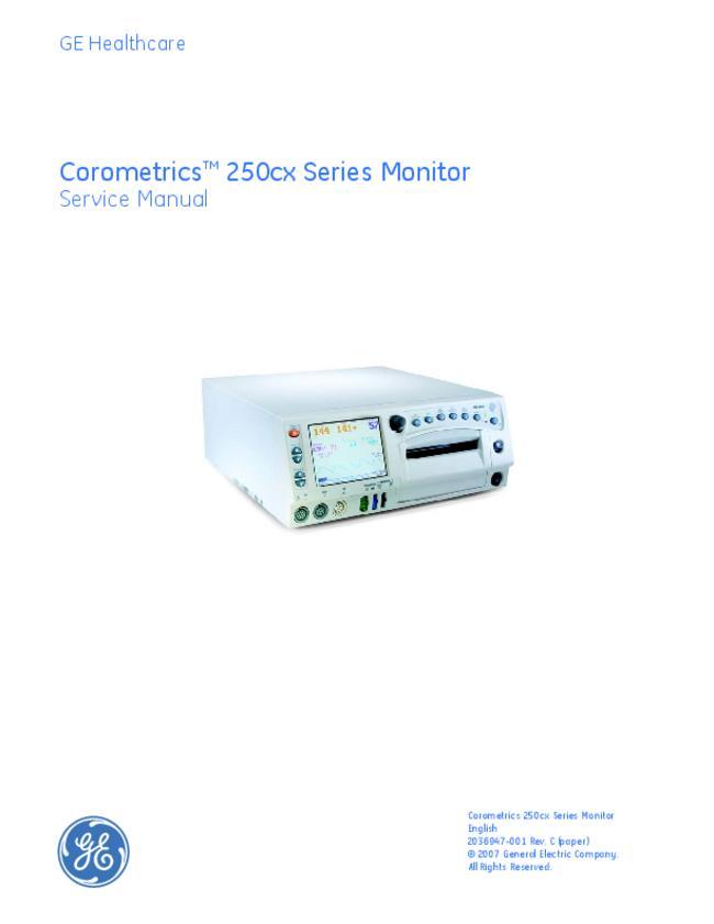 User Manual GE Healthcare Corometrics 250cx Series
