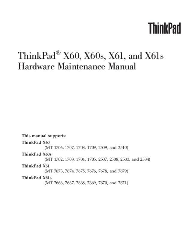 Service Manual - Lenovo ThinkPad X60 - Notebook