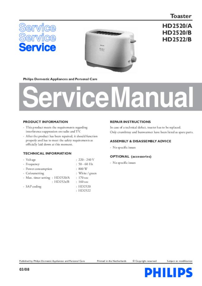 Service Manual - Philips HD2520/A - Toaster