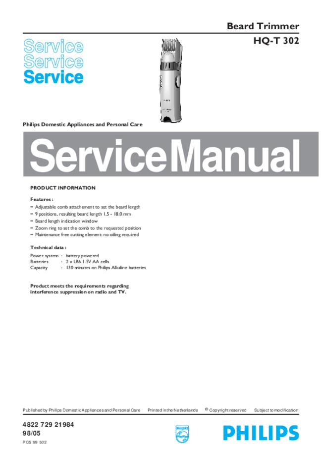 Service Manual - Philips HQ-T 302 - Beard Trimmer