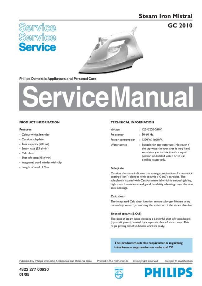 Service Manual - Philips Mistral GC 2010 - Iron