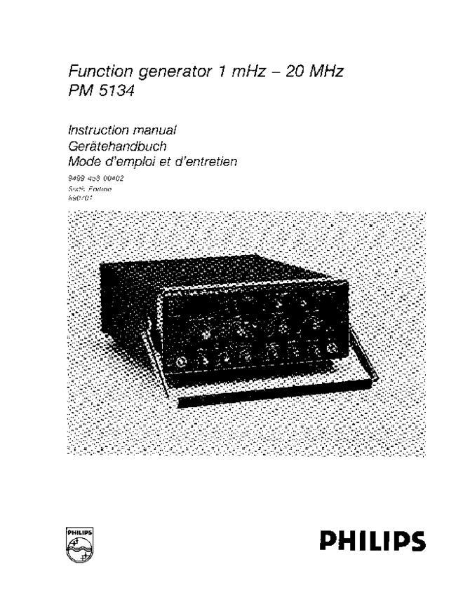 Service Manual - Philips PM 5134 - Generator