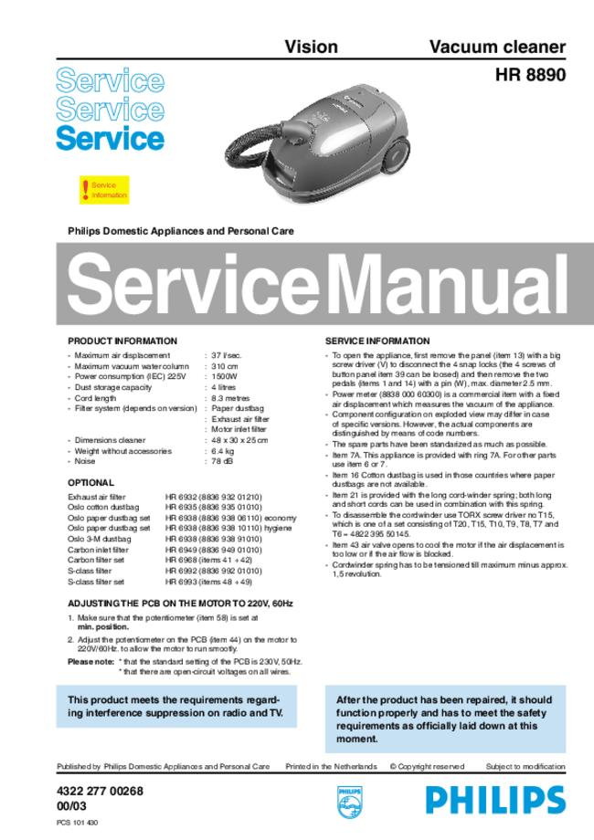 Service Manual - Philips Vision HR 8890 - Vacuum cleaner