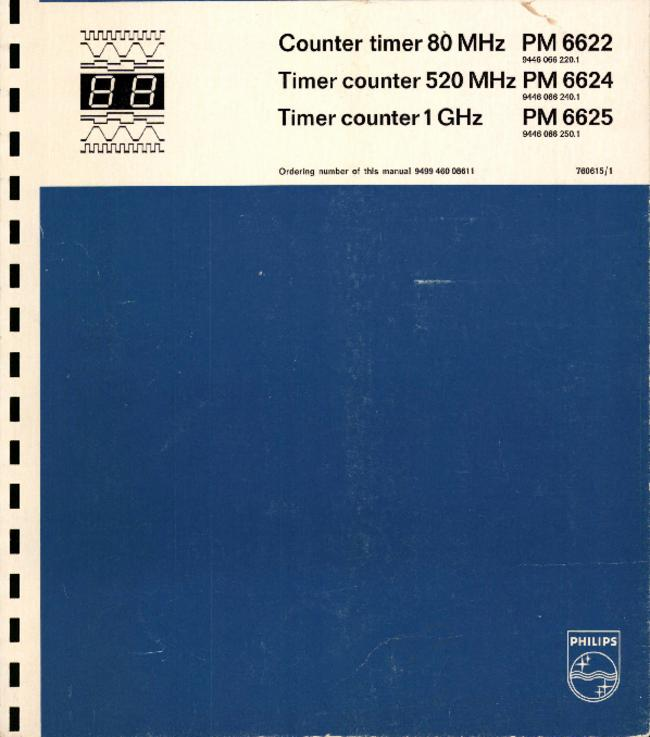 Service and User Manual - Philips PM 6622 - Counter