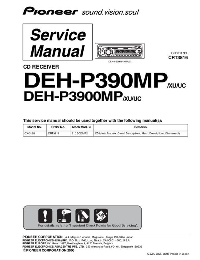 Service Manual Pioneer Deh P3900mp, Pioneer Deh-P3900mp Wiring Diagram