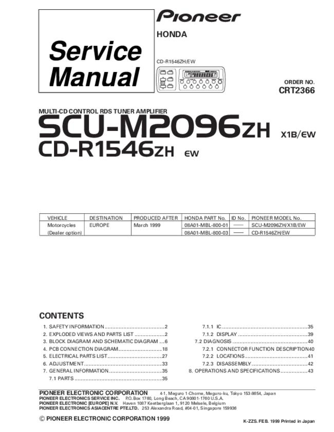 Service Manual - Pioneer SCU-M2096ZH - Car CD Tuner