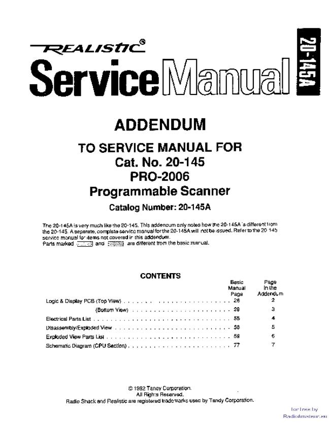 Service Manual Supplement - Realistic Pro-2006 - Scanner