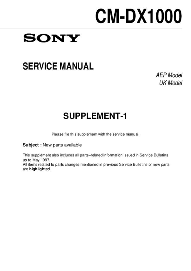 Service Manual Supplement - Sony CM-DX1000 - Mobile phone
