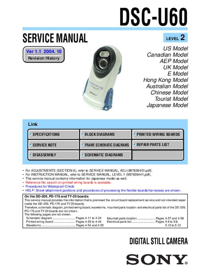 Service Manual - Sony DSC-U60 - Digital camera