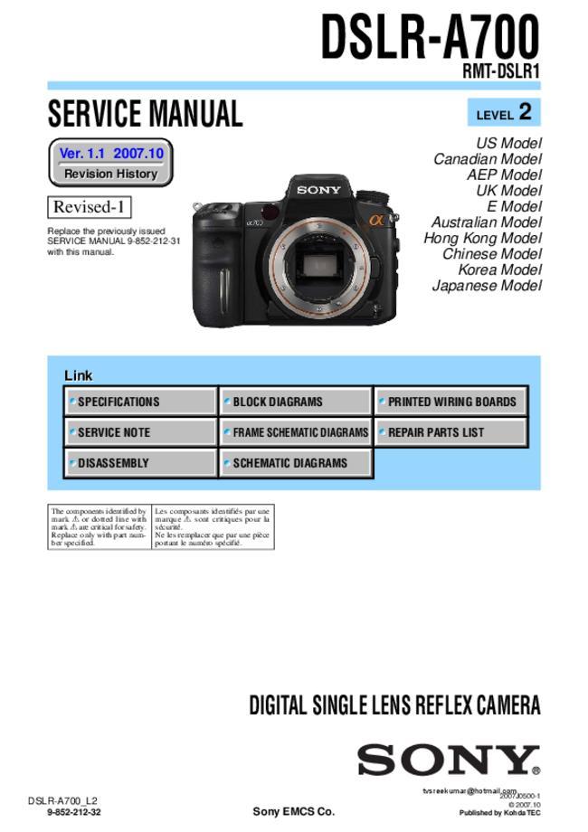 Service Manual - Sony DSLR-A700 - Digital camera