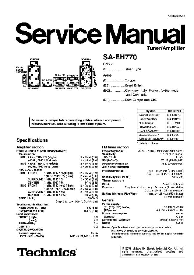 Service Manual - Technics SA-EH770 - Audio system