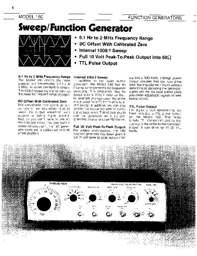 Service and User Manual - Wavetek 180 - Generator